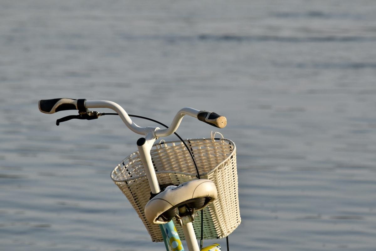sykkel, nostalgi, elven, rattet, solskinn, flettet kurv, vann, fiskeredskap, stranden, Sommer