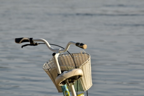 bicycle, nostalgia, river, steering wheel, sunshine, wicker basket, water, fishing gear, beach, summer
