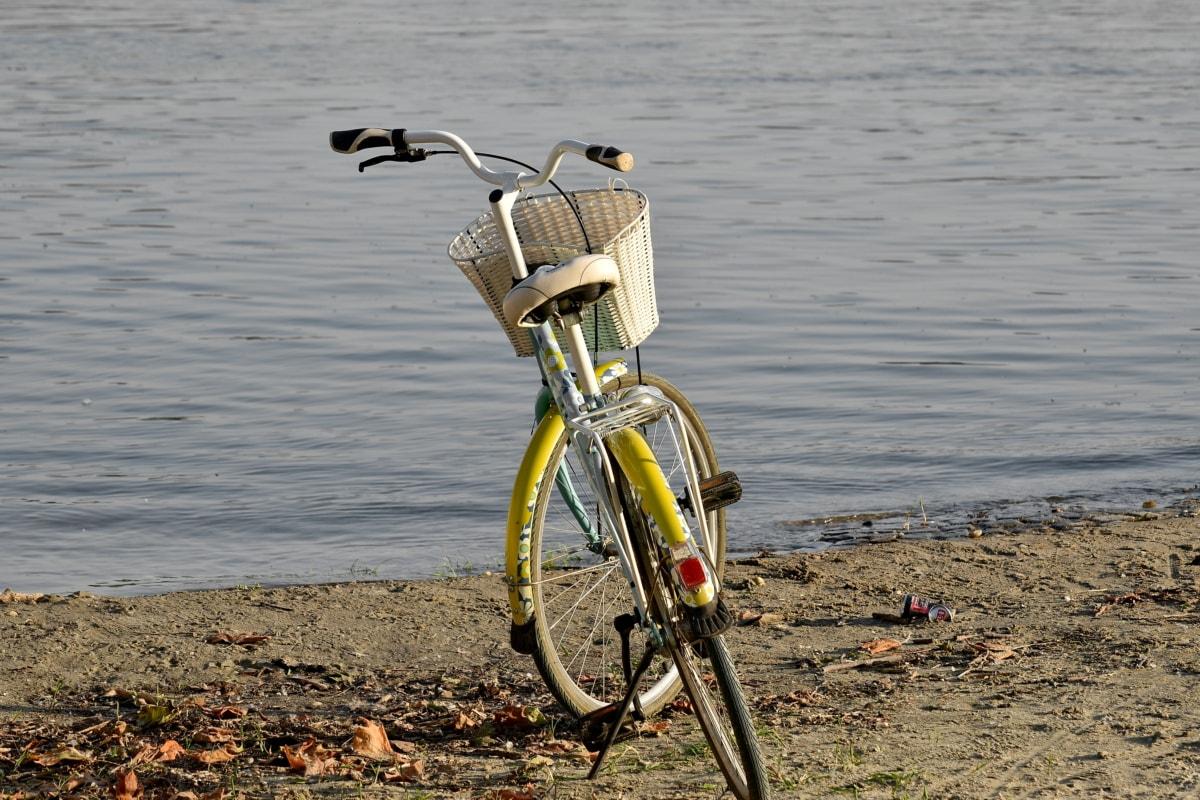 ฝั่งแม่น้ำ, จักรยาน, ชายหาด, จักรยาน, น้ำ, ล้อ, กีฬา, ทะเลสาบ, ภูมิทัศน์, ธรรมชาติ
