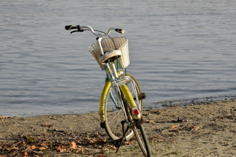 riverbank, bicycle, beach, bike, water, wheel, sport, lake, landscape, nature