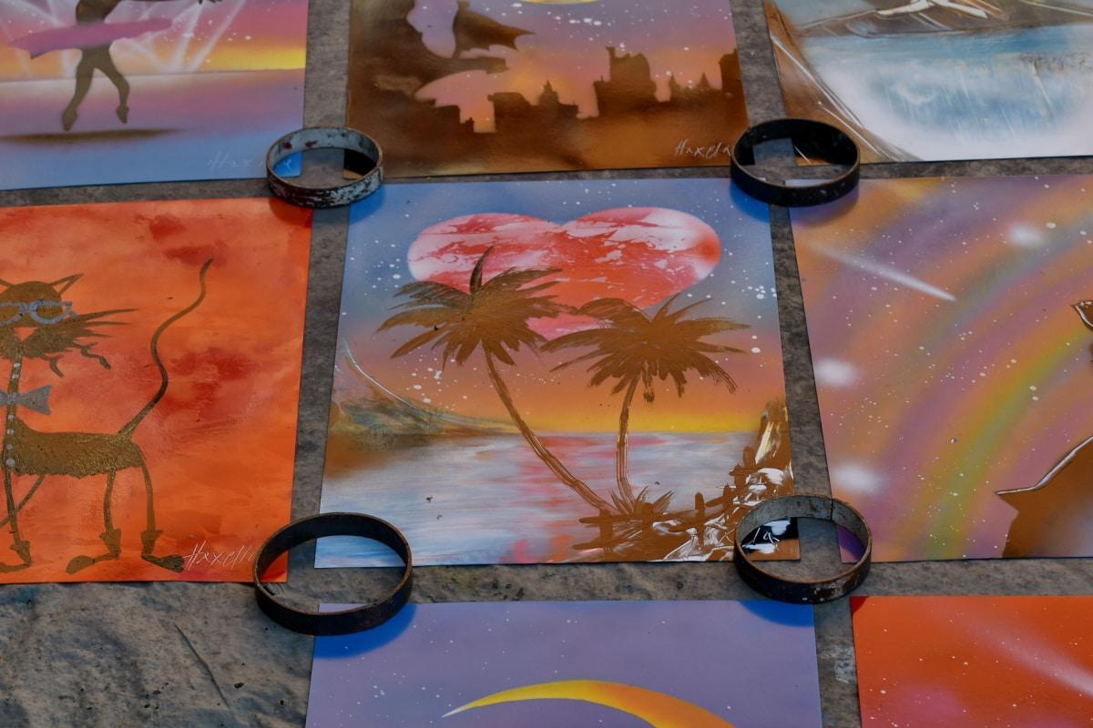 Művészet, álom, fantázia, képzőművészet, festék, nap, régi, absztrakt, papír, illusztráció
