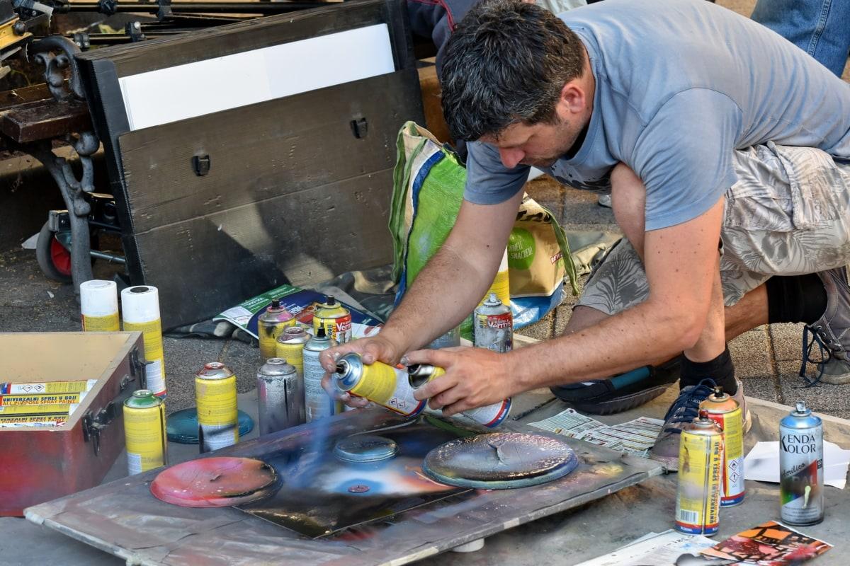 アート, アーティスト, 男, ペイント, 画家, 通り, 人々, 業界, 実稼働, スキル