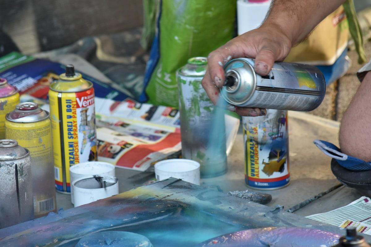 kunst, kunstenaar, creativiteit, graffiti, industrie, schilderij, Straat, mensen, vaardigheid, man