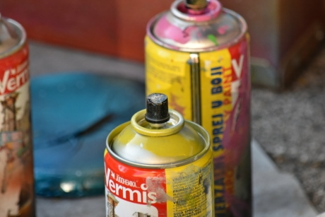 detail, metallic, paint, paintbrush, container, merchandise, vertical, industry, outdoors, creativity