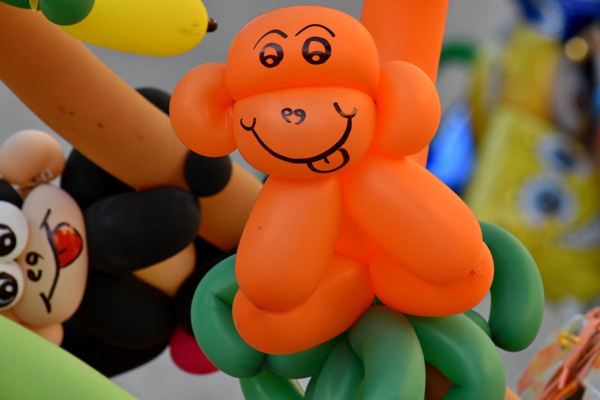 балон, цветни, ръчно изработени, маймуна, забавно, играчка, пластмаса, сладък, Смешно, много