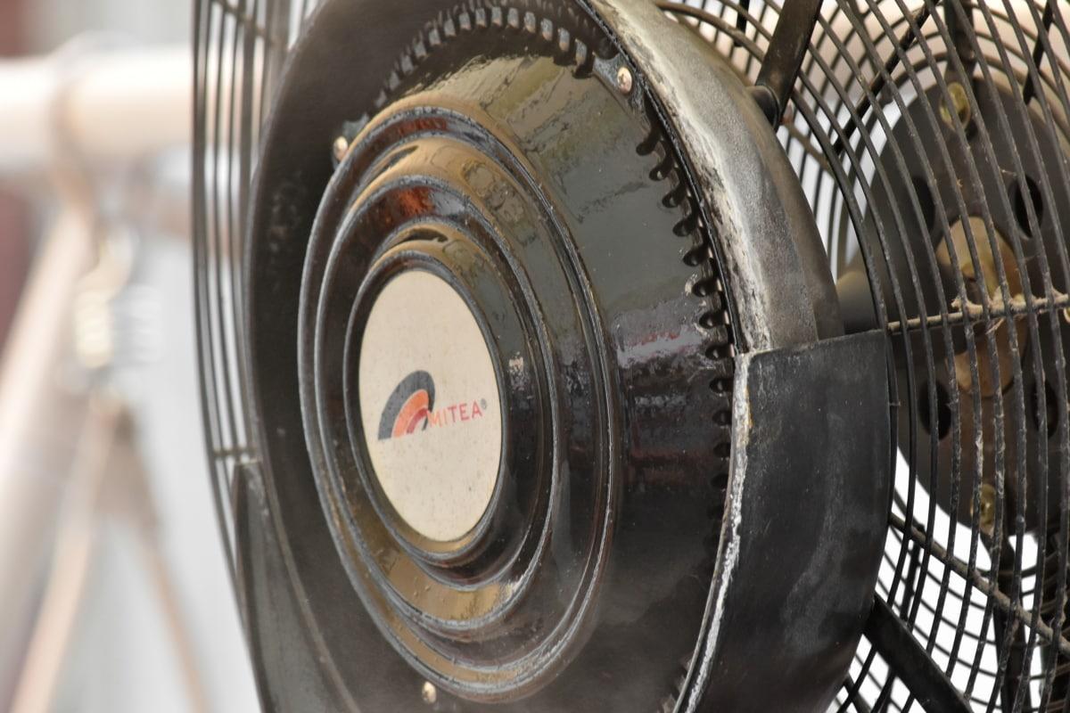 elektrický ventilátor, elektřina, turbína, ocel, kolečko, stroj, staré, starožitnost, technologie, železo