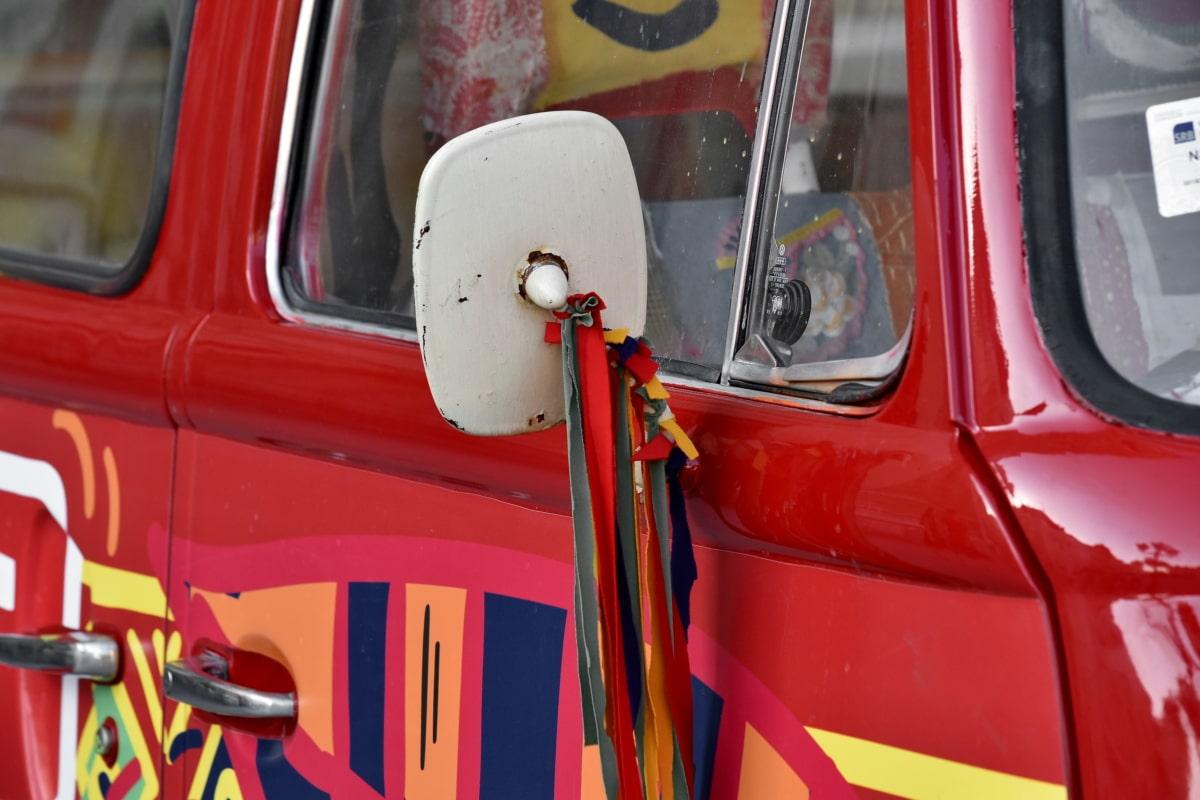 барвистий, дзеркало, Ностальгія, транспортний засіб, автомобіль, перевезення, класичний, автобус, аварійні, трафік