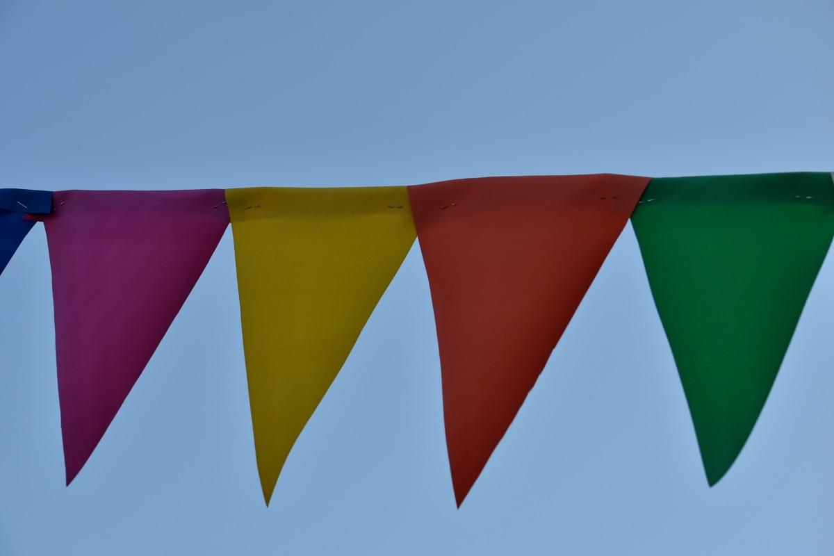 Grb, Zastava, vjetar, vješanje, plavo nebo, umjetnost, na otvorenom, trokut, ljeto, simbol