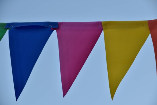 carnival, colorful, ribbon, rope, triangle, flag, emblem, hanging, outdoors, wind
