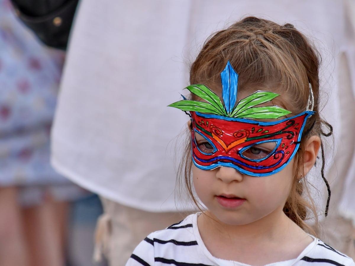 carnival, child, costume, face, mask, pretty girl, princess, portrait, girl, fun