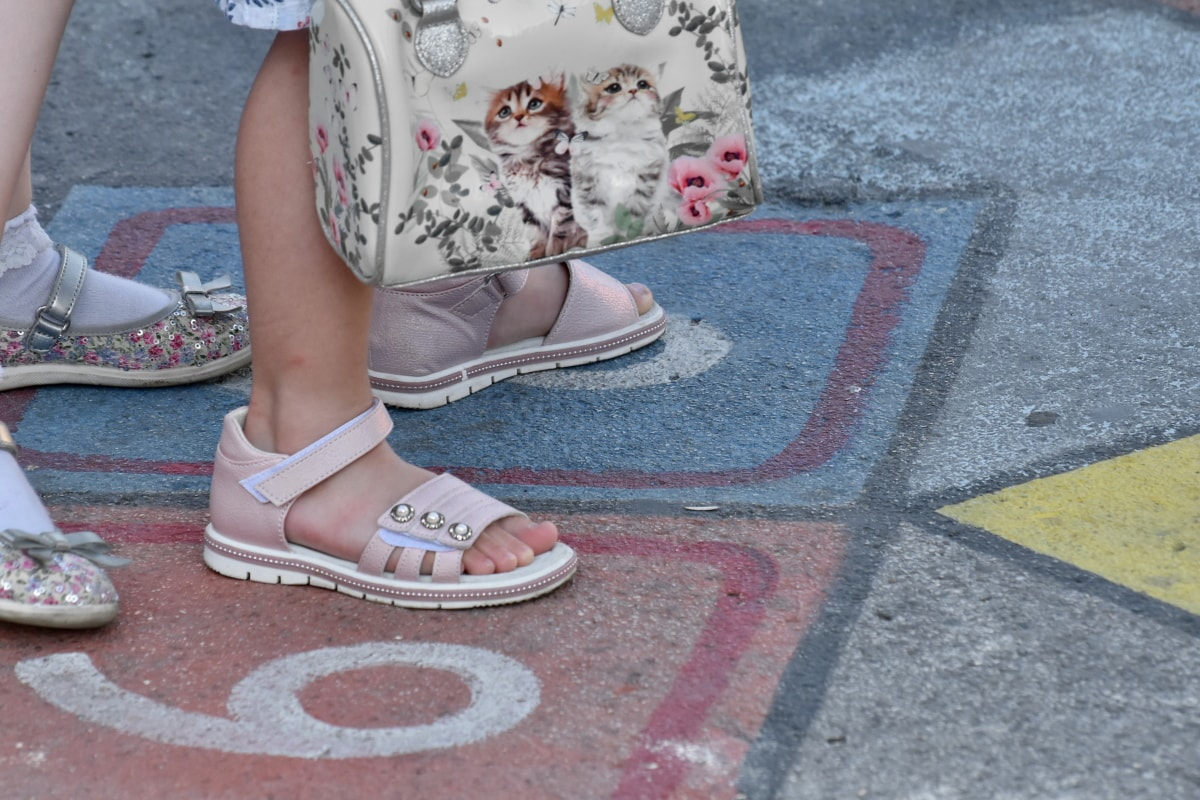 poggyász, divat, kézitáska, szandál, város, közúti, lány, láb, városi, utca