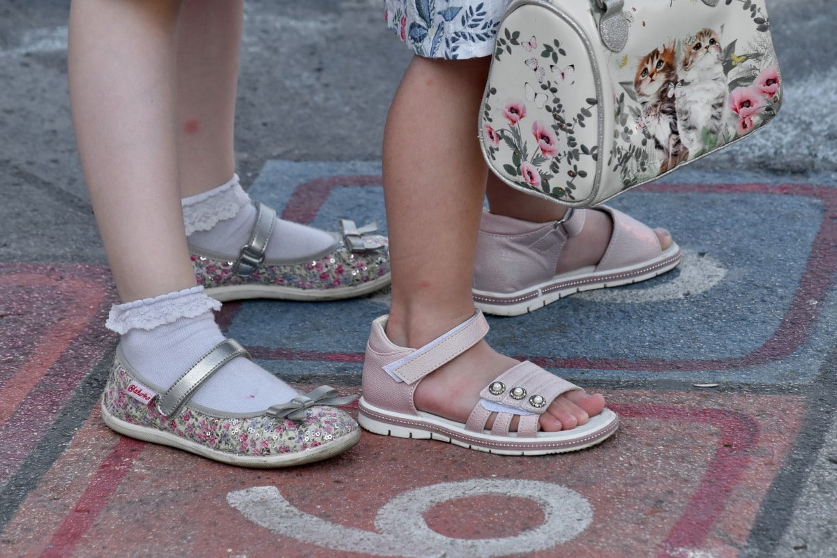 asphalt, game, sandal, shoes, foot, street, shoe, girl, covering, footwear