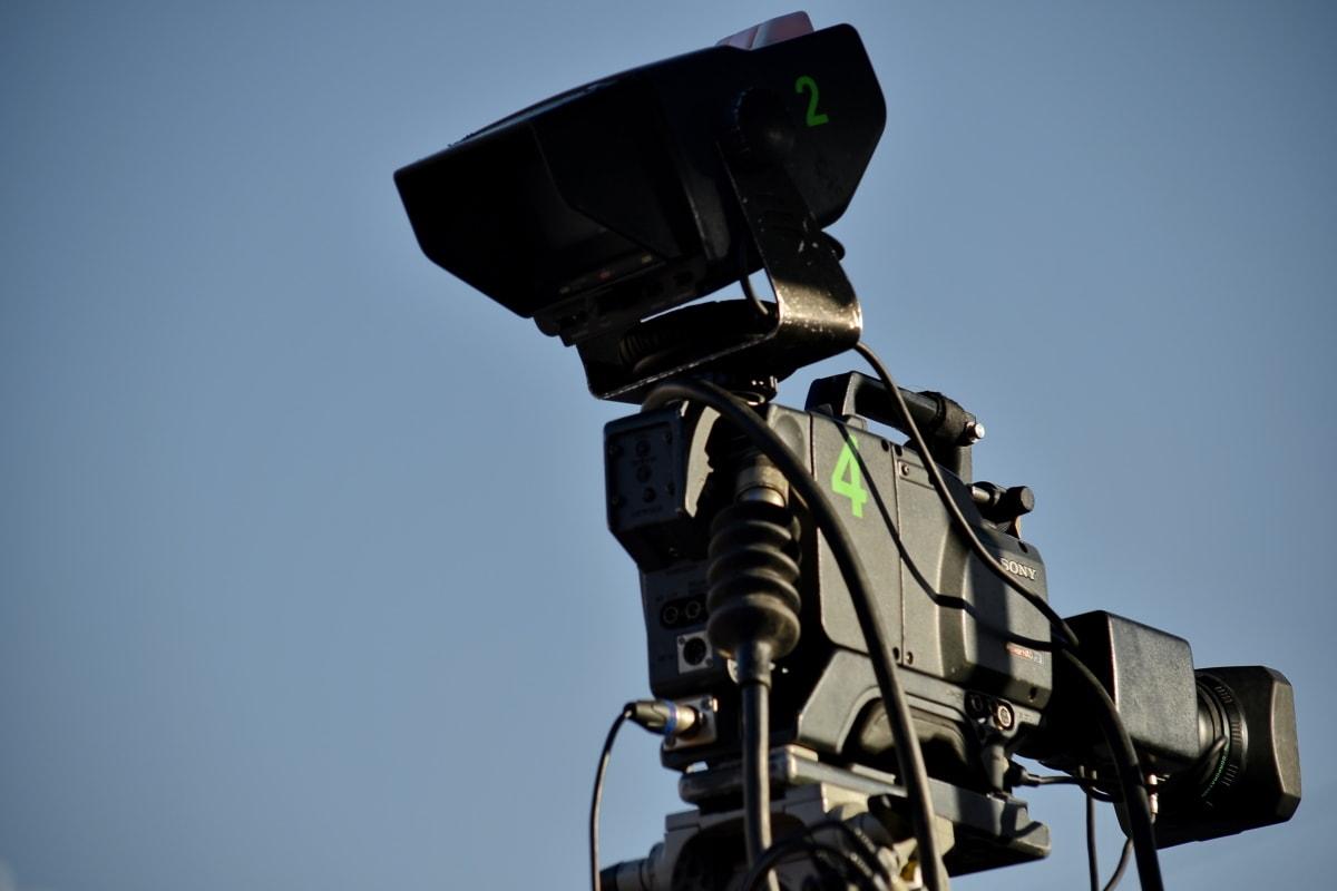 blue sky, camera, device, television news, equipment, apparatus, lens, semaphore, electronics, technology