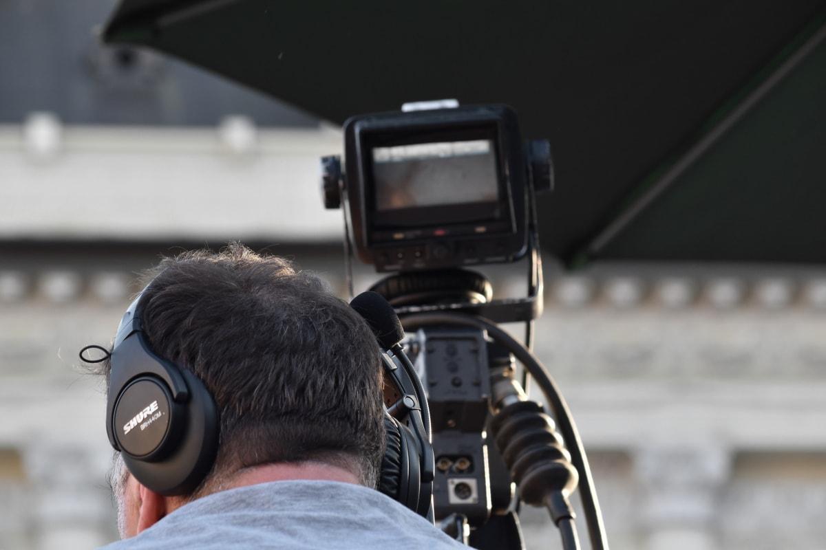 kamera, fotograf, udstyr, linse, teknologi, video optagelse, stativ, landskab, television, folk