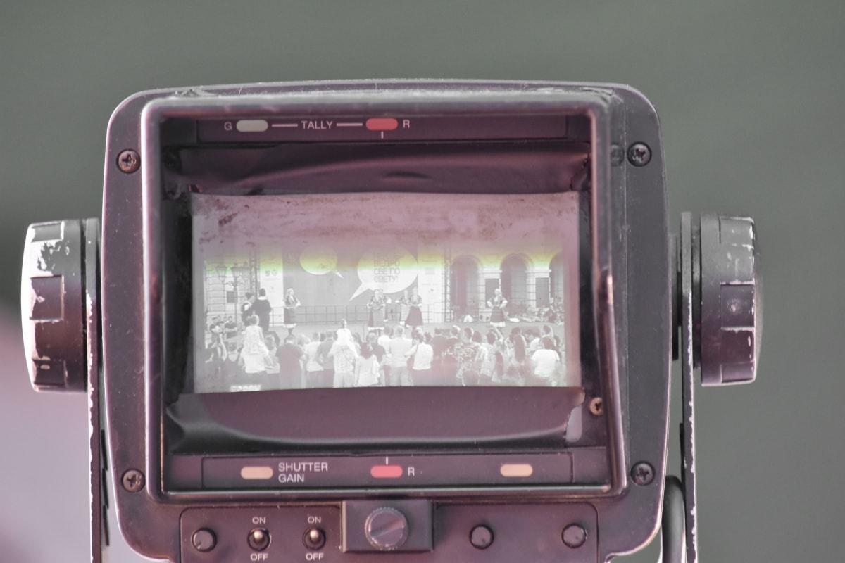 máy ảnh, cũ, tin tức truyền hình, quay video, màn hình, ống kính, Hoài niệm, thiết bị, công nghệ, thiết bị điện tử
