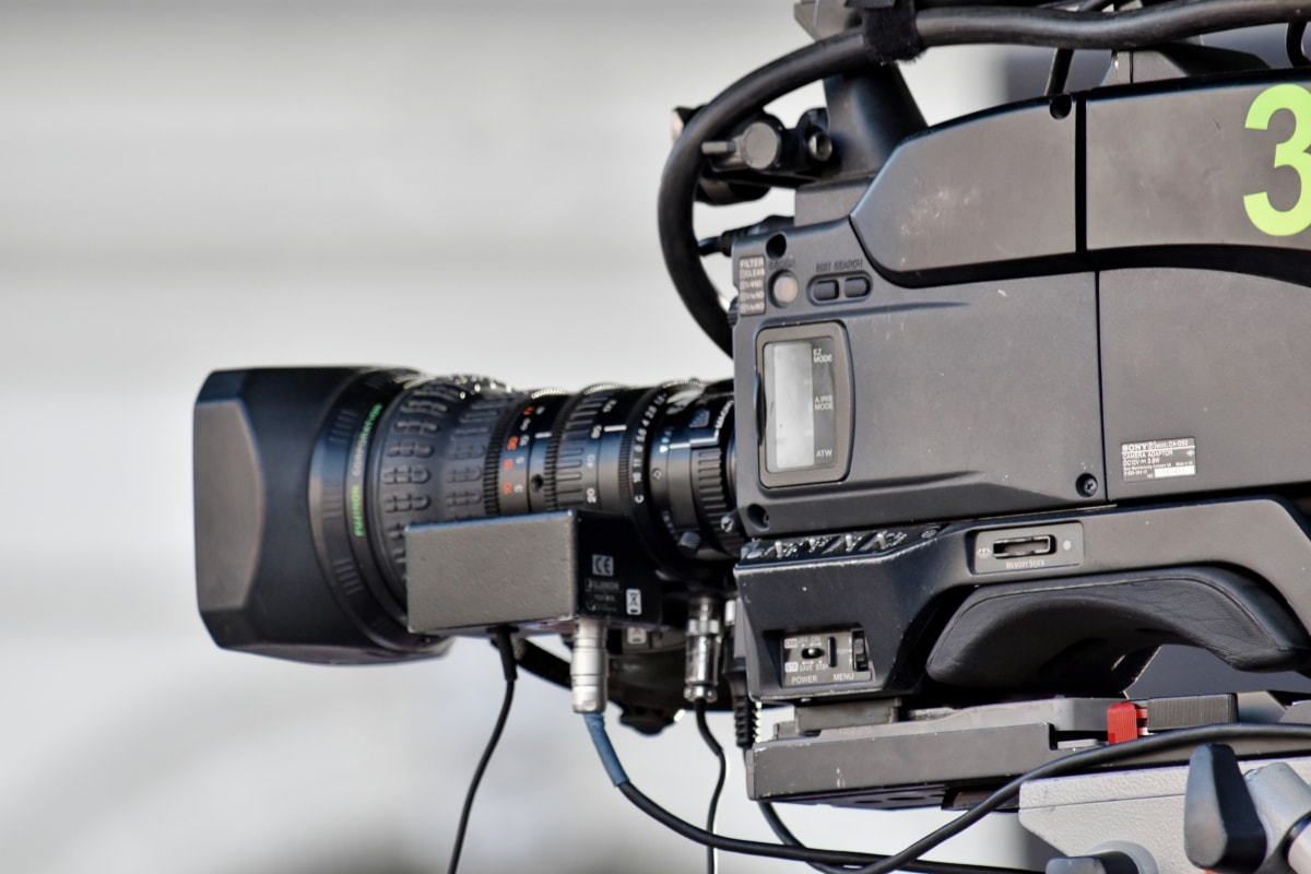 telecommunication, television news, tripod, camera, lens, electronics, equipment, video recording, technology, machinery