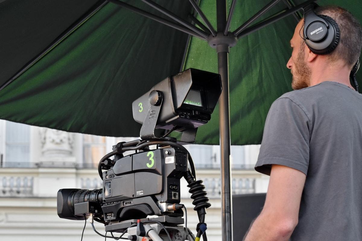 camera, man, television, television news, video, lens, tripod, equipment, video recording, movie