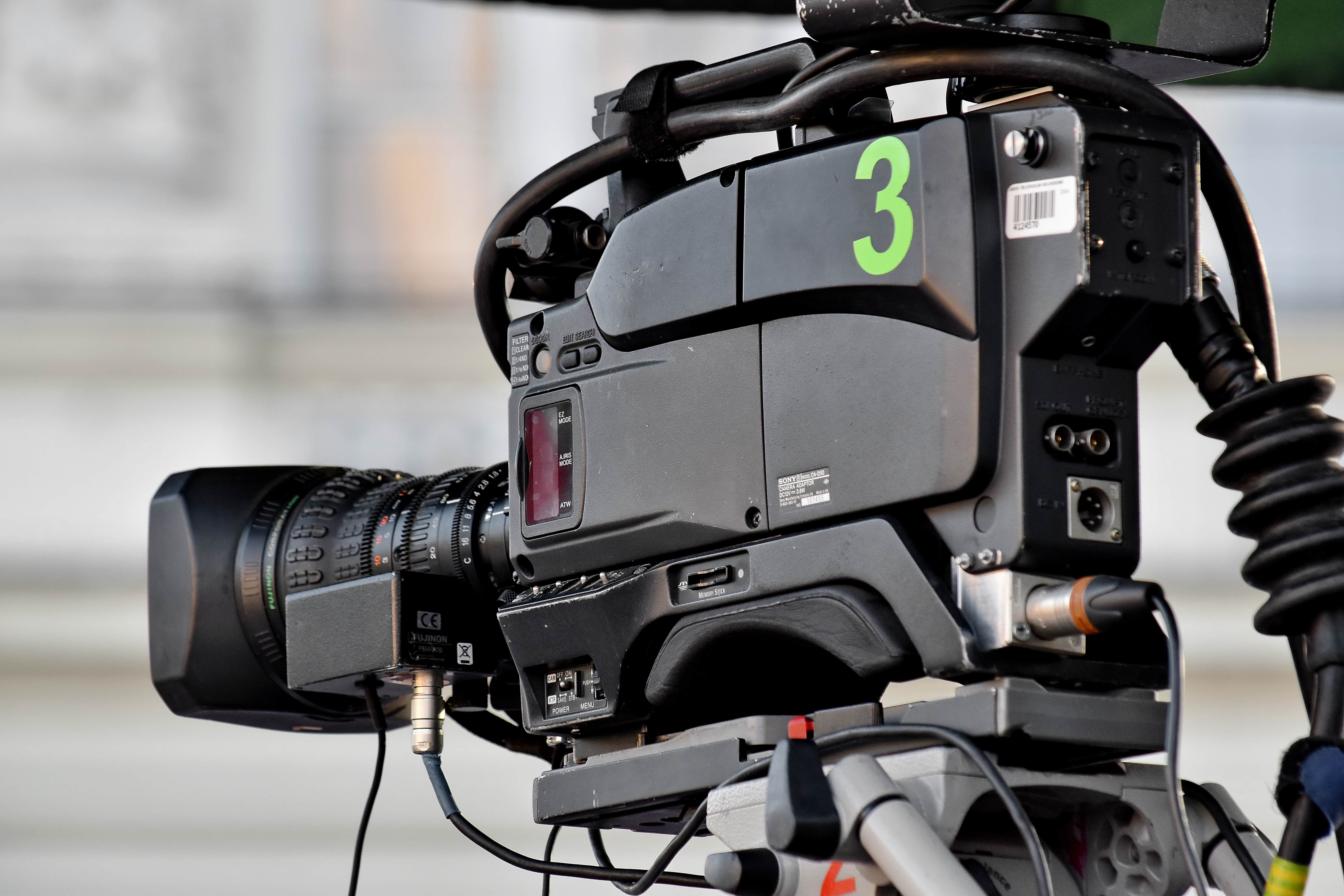 Free picture: television, television news, tripod, video recording, electronics, machinery, lens ...