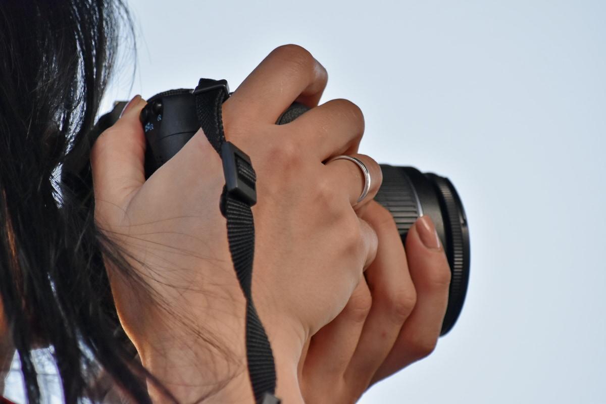 カメラ, 手, 写真家, リング, 肌, 女性, 女の子, レンズ, かなり, 若い