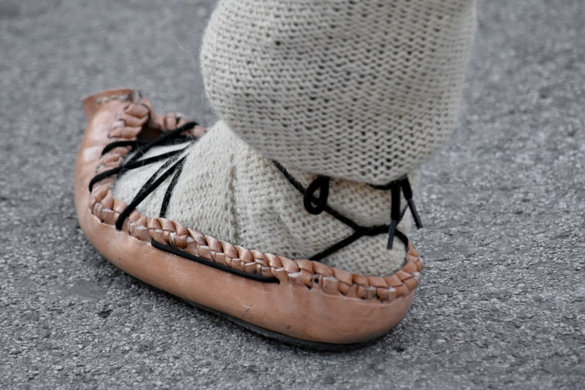 leather, shoe, shoelace, traditional, wool, foot, footwear, fashion, street, old
