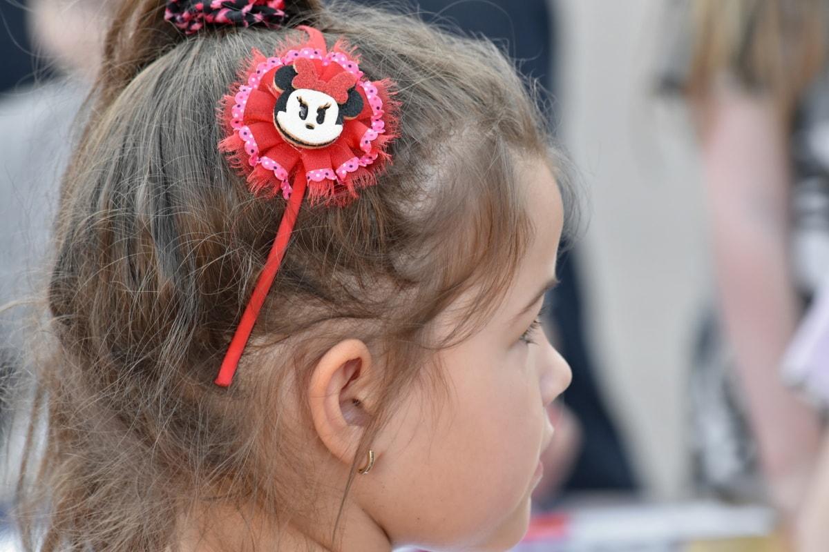 criança, penteado, retrato, Garota bonita, Vista lateral, cara, bonito, moda, muito, cabelo