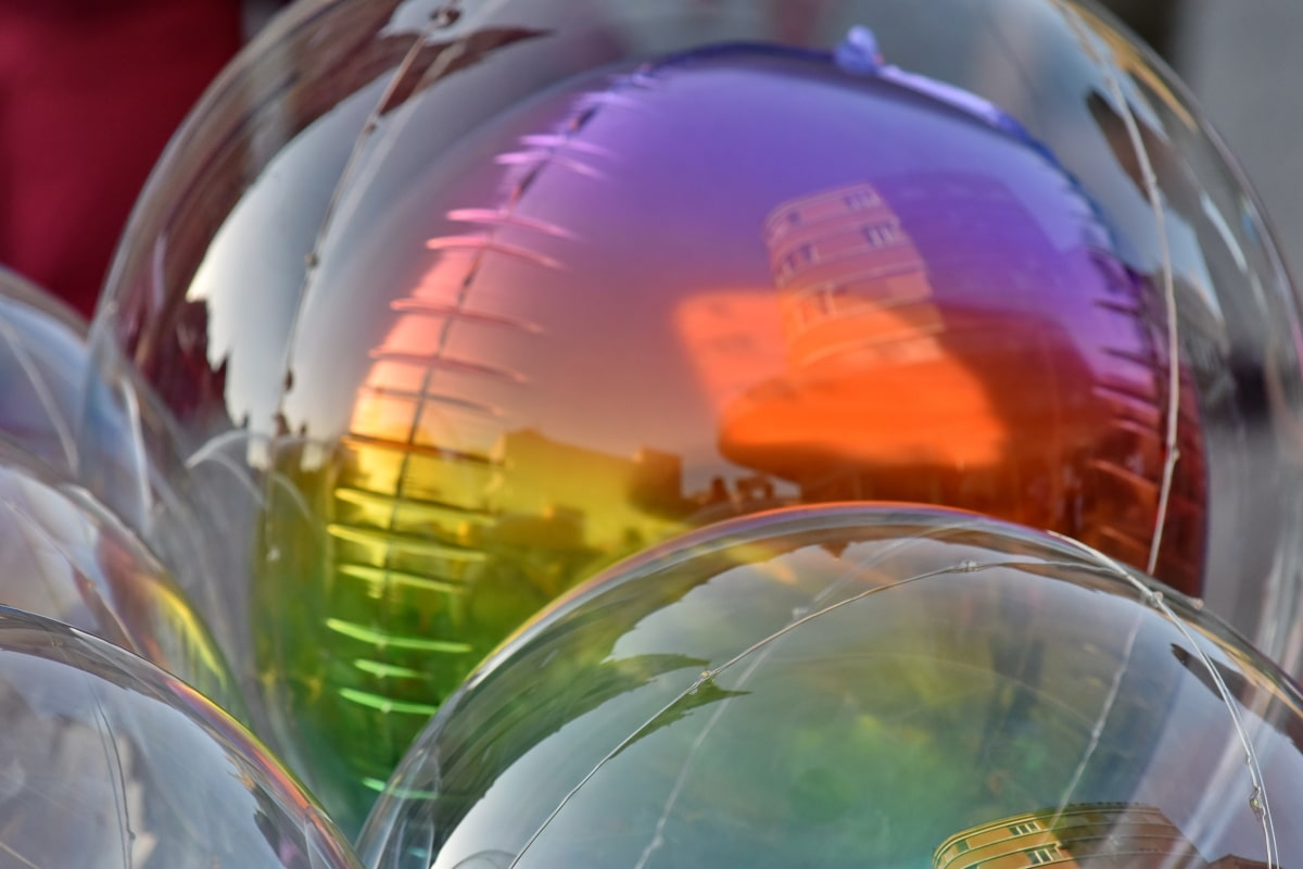 balloon, reflection, surreal, transparent, bright, matrix, abstract, fantasy, design, art