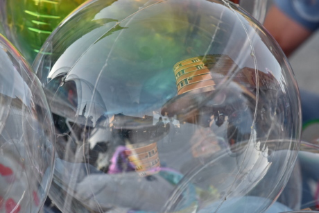 ball-shaped, balloon, colourful, material, plastic, reflection, rubber, toys, urban area, fine