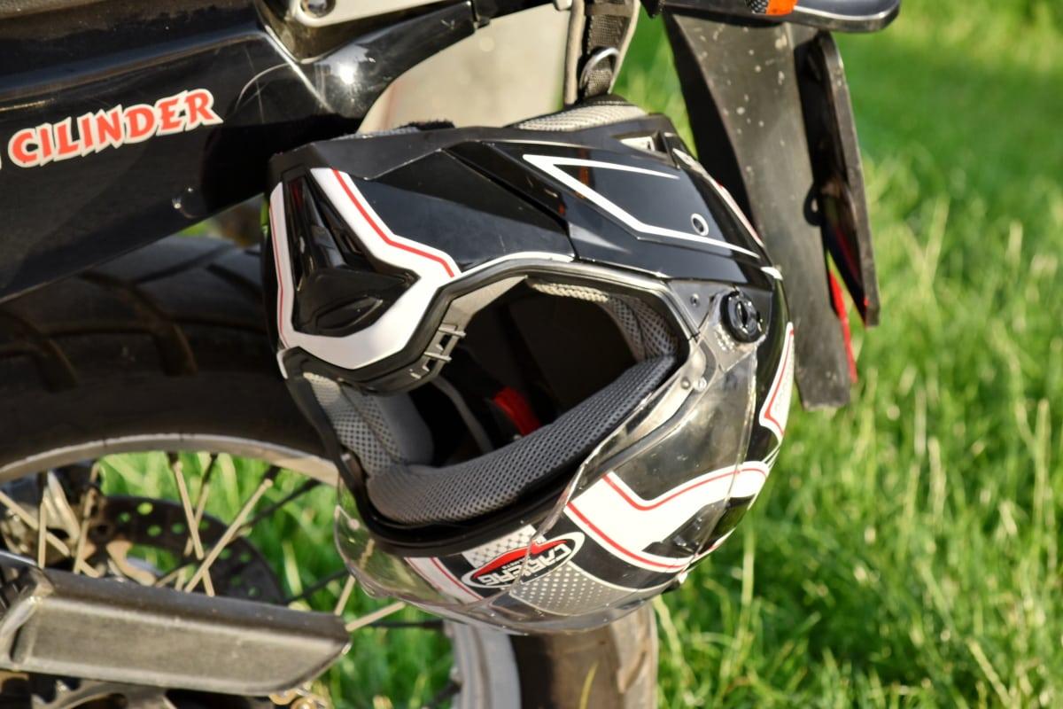 bike, helmet, wheel, vehicle, motorbike, competition, sport, tire, chrome, outdoors