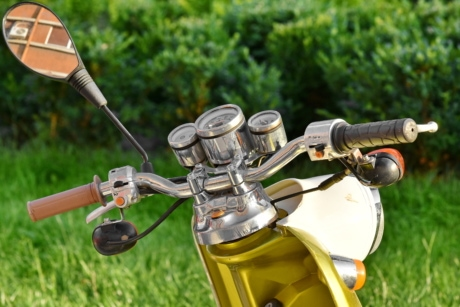 chrome, gauge, mirror, moped, nostalgia, steering wheel, grass, summer, outdoors, leisure