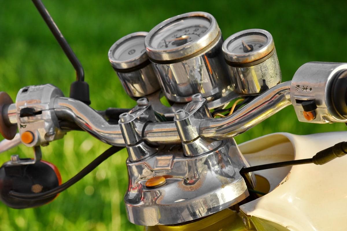 kromi, mittari, metallinen, Mopon, ohjauspyörä, mekanismi, pyörän, vanha, vuosikerta, moottoripyörä
