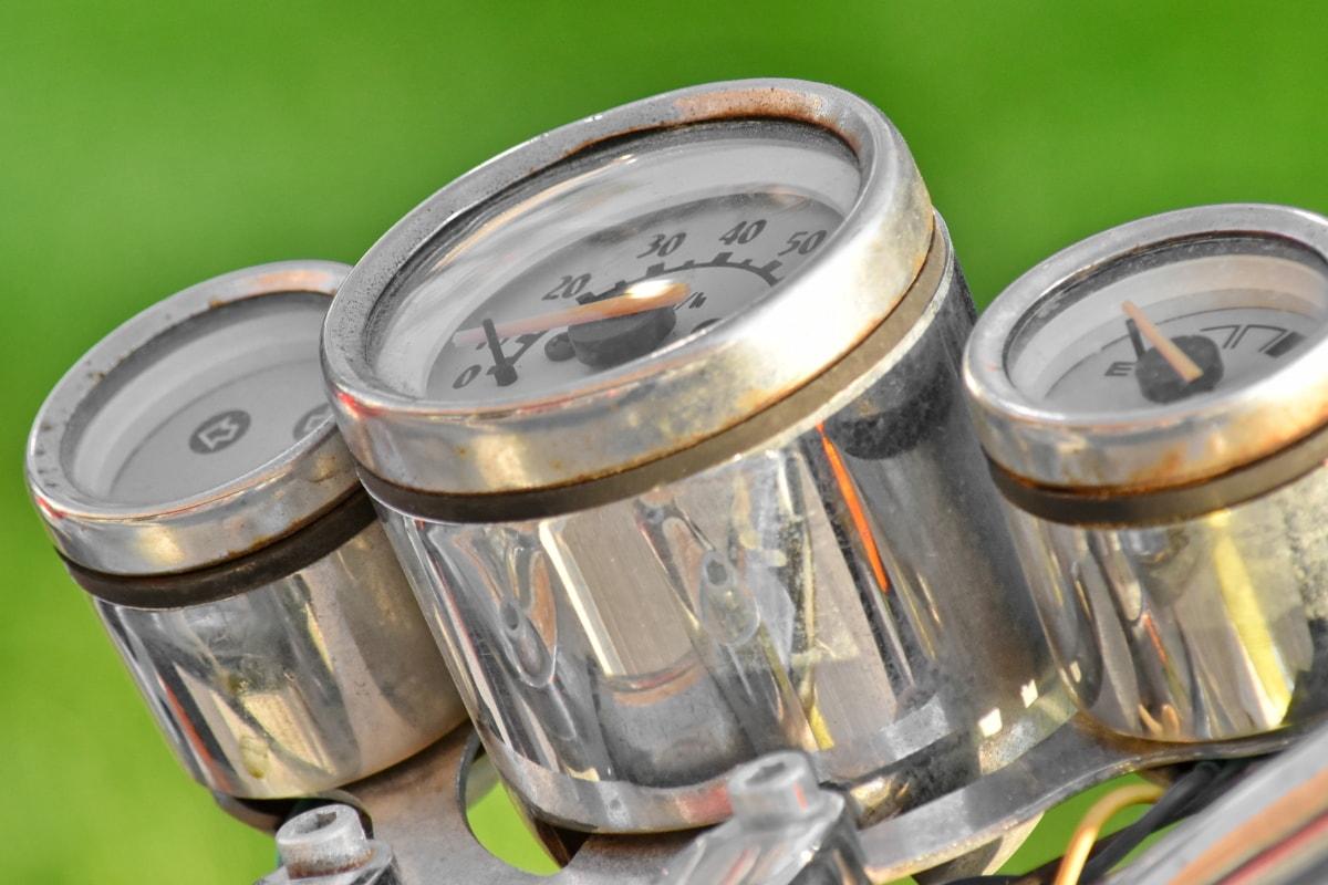 chrom, Miernik, instrumentu, metaliczne, aluminium, stary, stali, zabytkowe, Sprzęt, benzyna