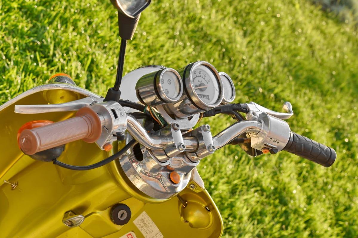 mätare, moped, motorcykel, nostalgi, hastighetsmätare, ratt, fordon, idrott, hjulet, utrustning