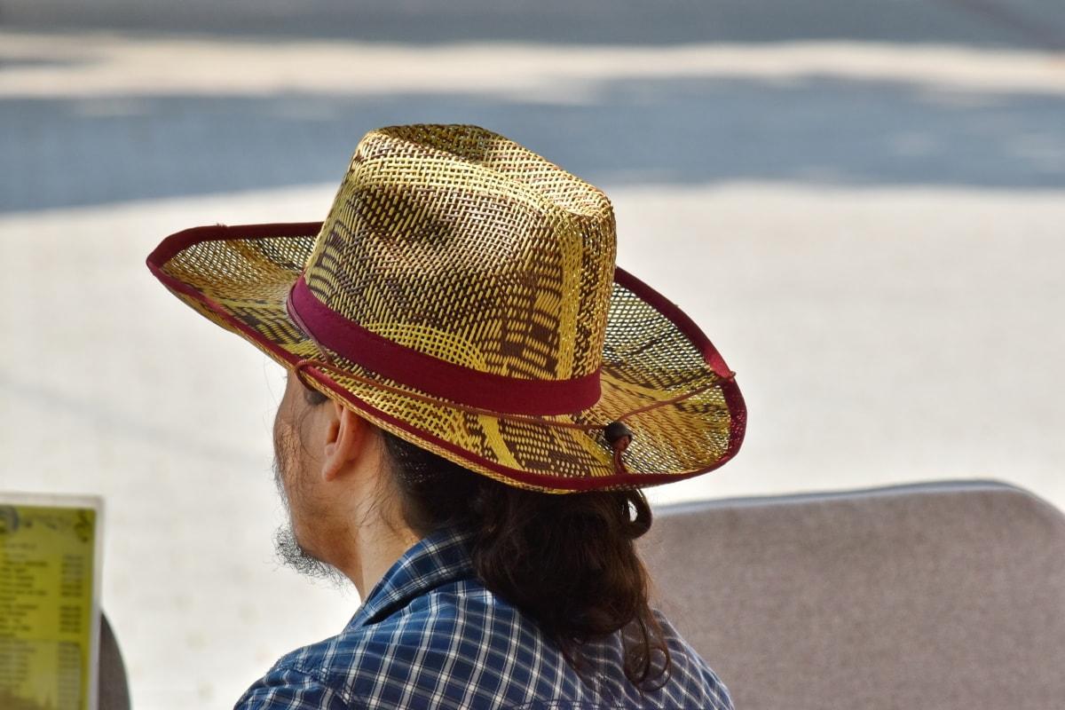 カウボーイ, 帽子, 昔ながら, 縦方向, わら, 衣料品, ビーチ, 人々, 男, 夏