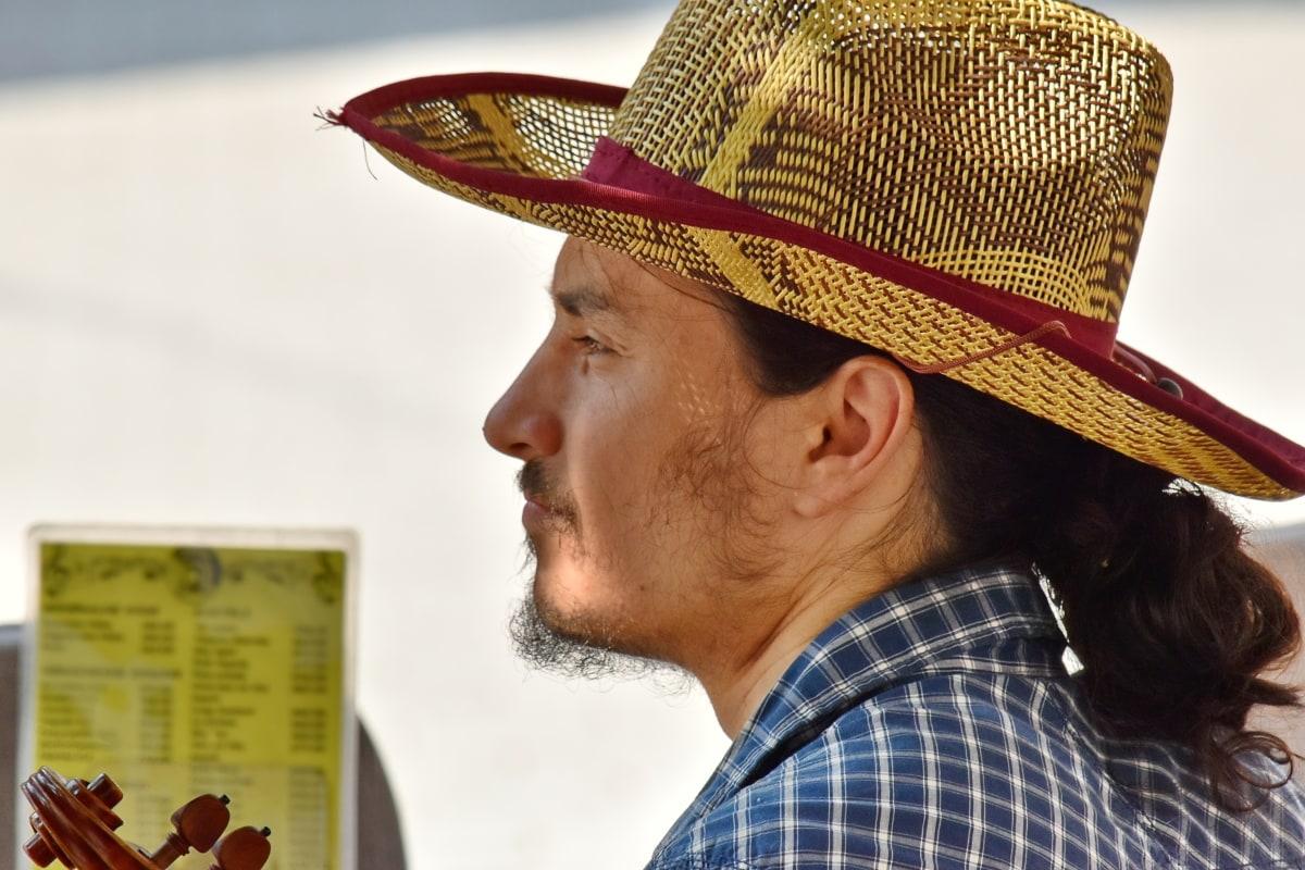 topi, Laki-laki, Meksiko, Meksiko, potret, pakaian, koboi, orang-orang, jerami, di luar rumah