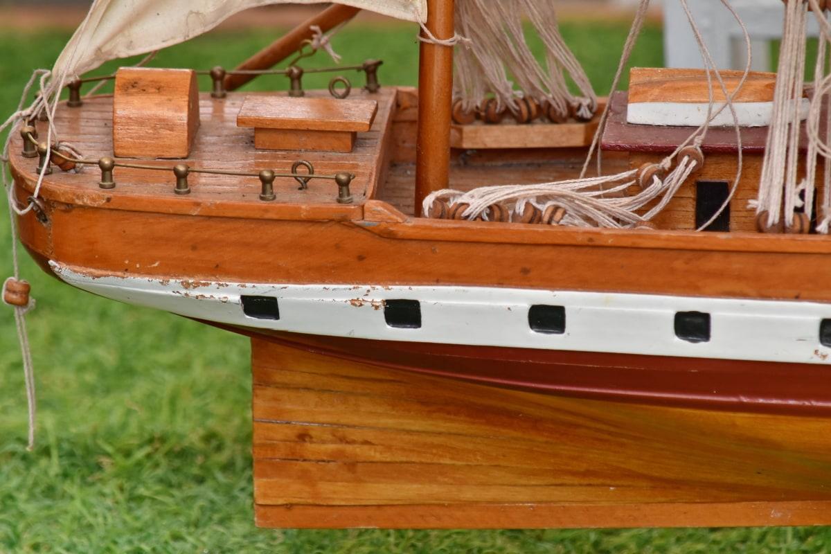 kerajinan, buatan tangan, miniatur, Nostalgia, kapal, kayu, kayu, perahu, tali, perahu layar