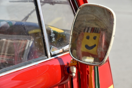 mirror, reflection, smile, smiley, vehicle, traffic, car, street, classic, old