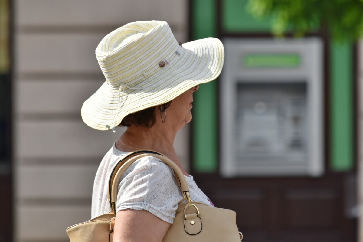fashion, pensioner, portrait, side view, clothing, hat, street, woman, people, outdoors