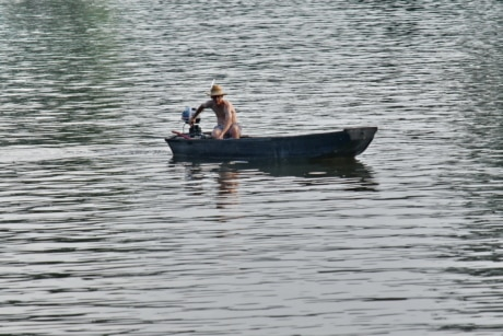 boat, water, fisherman, lake, oar, river, watercraft, people, fish, reflection