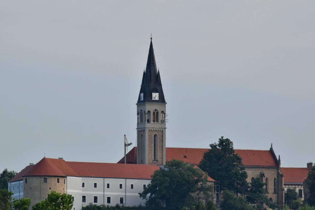 dvorac, crkveni toranj, Hrvatska, srednjovjekovni, turistička atrakcija, toranj, zgrada, arhitektura, crkva, katedrala