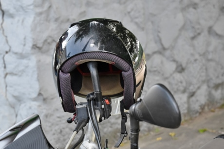 steering wheel, helmet, mirror, motorbike, protection, device, safety, outdoors, security, street