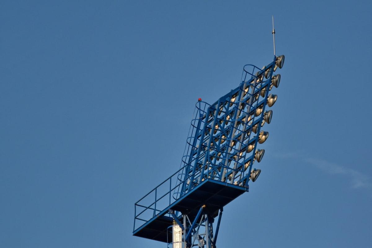 Stavebníctvo, vysoká, lampa, oblak, anténa, Architektúra, modrá obloha, kábel, mesto, detail