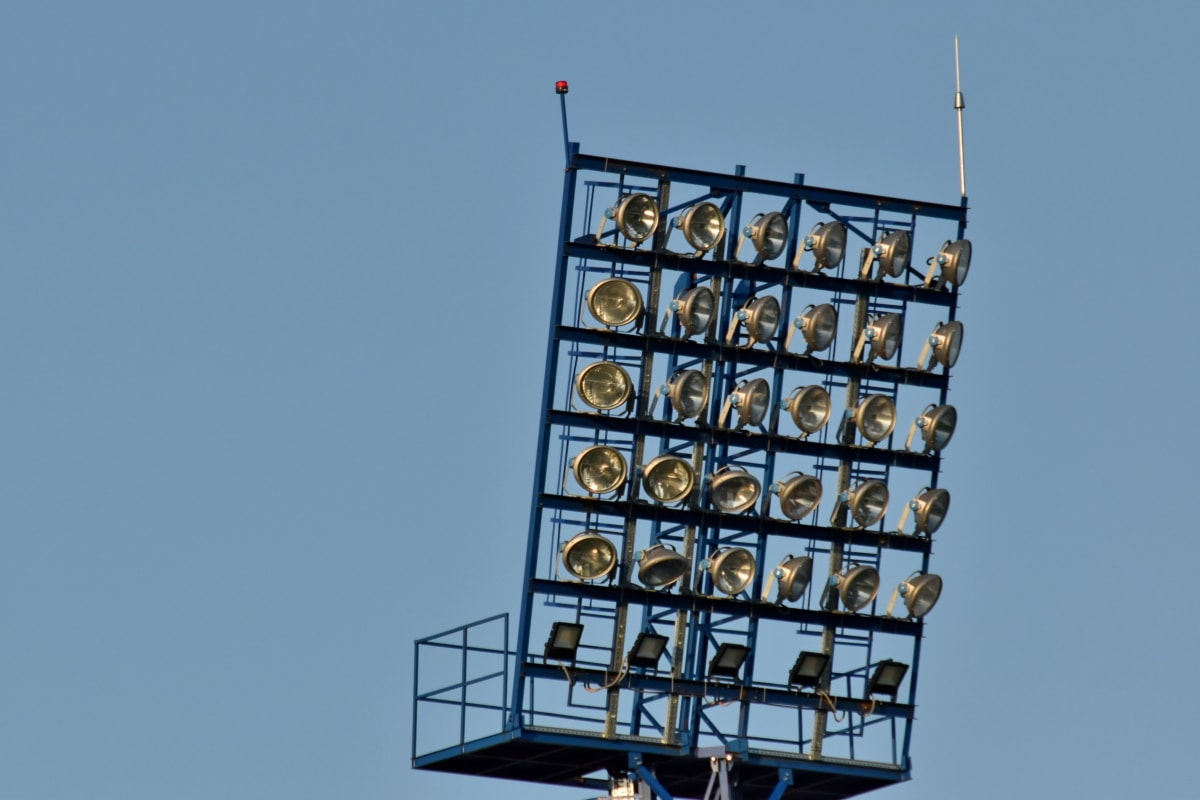 industrielle, lampe, rustfrit stål, sky, arkitektur, blå himmel, bygning, forretning, byggeri, detaljer