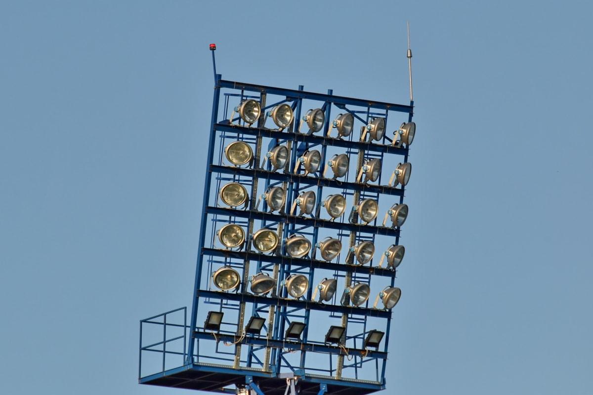 elektriciteit, industriële, lamp, wolk, architecturale stijl, het platform, blauwe hemel, kabel, bouw, detail