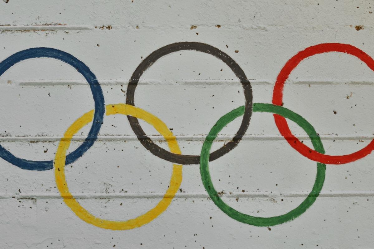 красочные, бетон, деталь, Граффити, Олимпийский, Кольца, знак, Грязные, Текстура, художественные