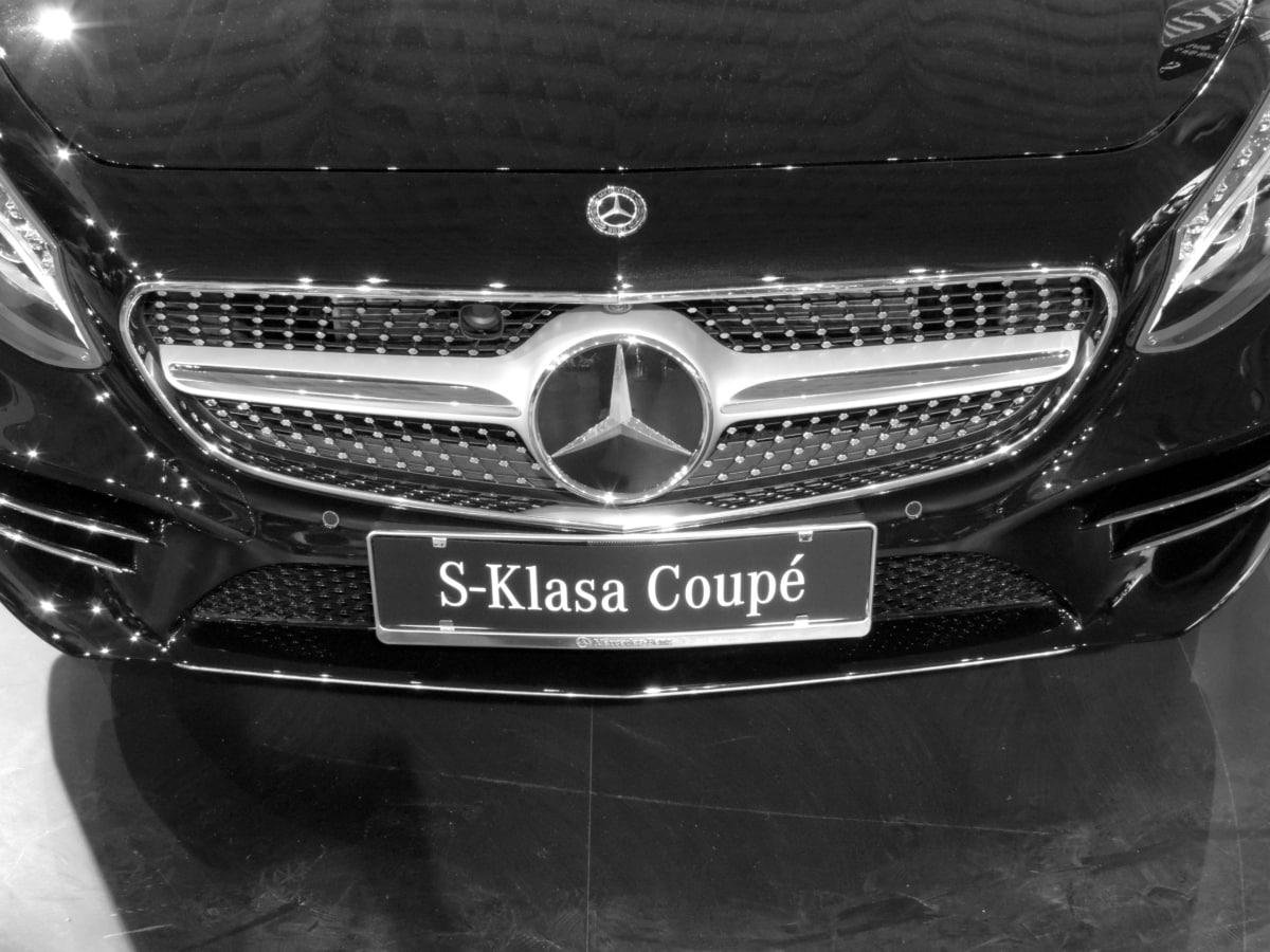 automobile, black and white, german, sedan, vehicle, car, transportation, classic, chrome, luxury