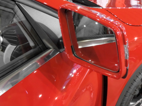 detail, glass, mirror, paint, red, reflection, automobile, classic, vehicle, chrome