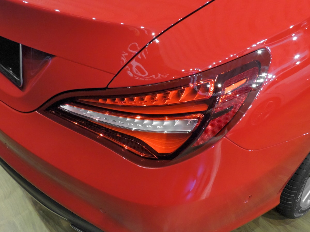 automobile, curve, design, light, metallic, paint, red, reflection, automotive, car