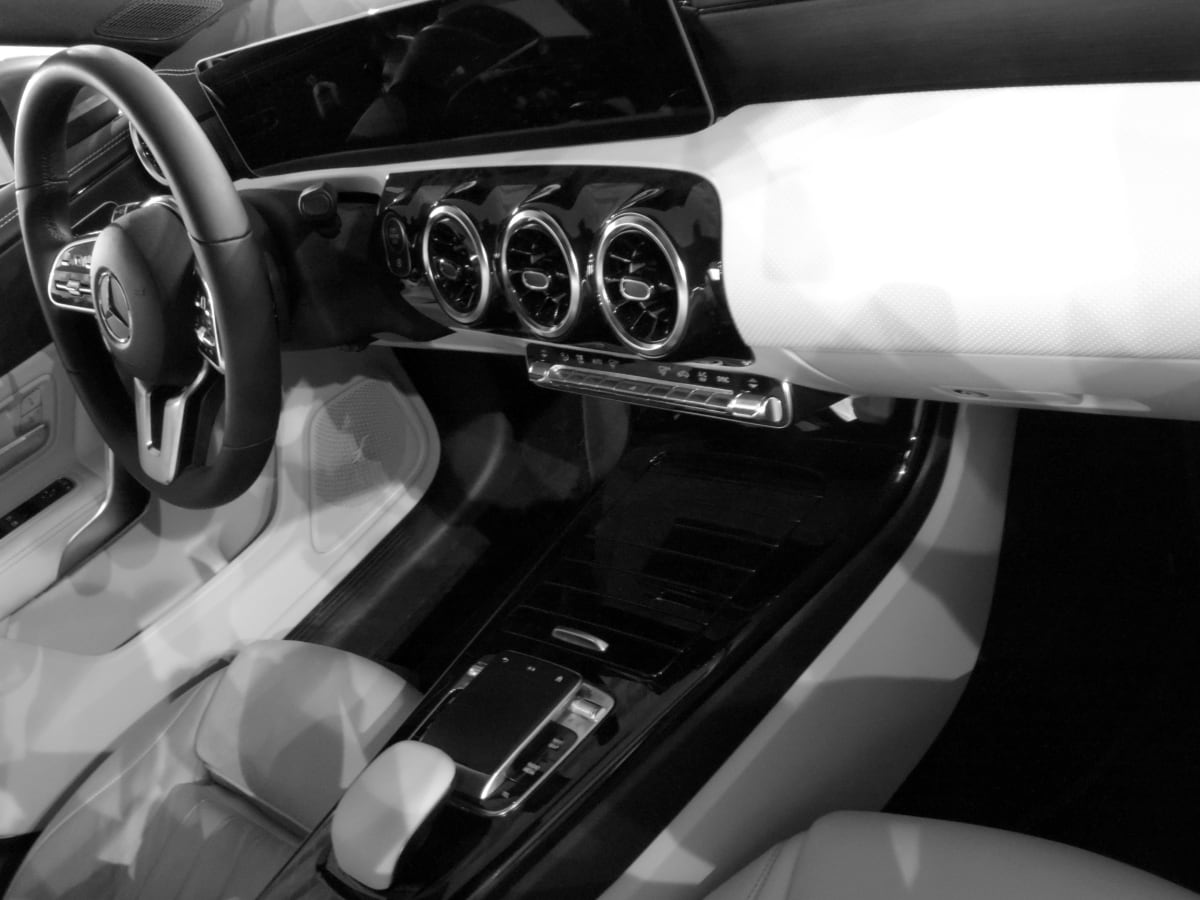 car seat, cockpit, gearshift, interior decoration, luxury, speedometer, steering wheel, black and white, drive, vehicle