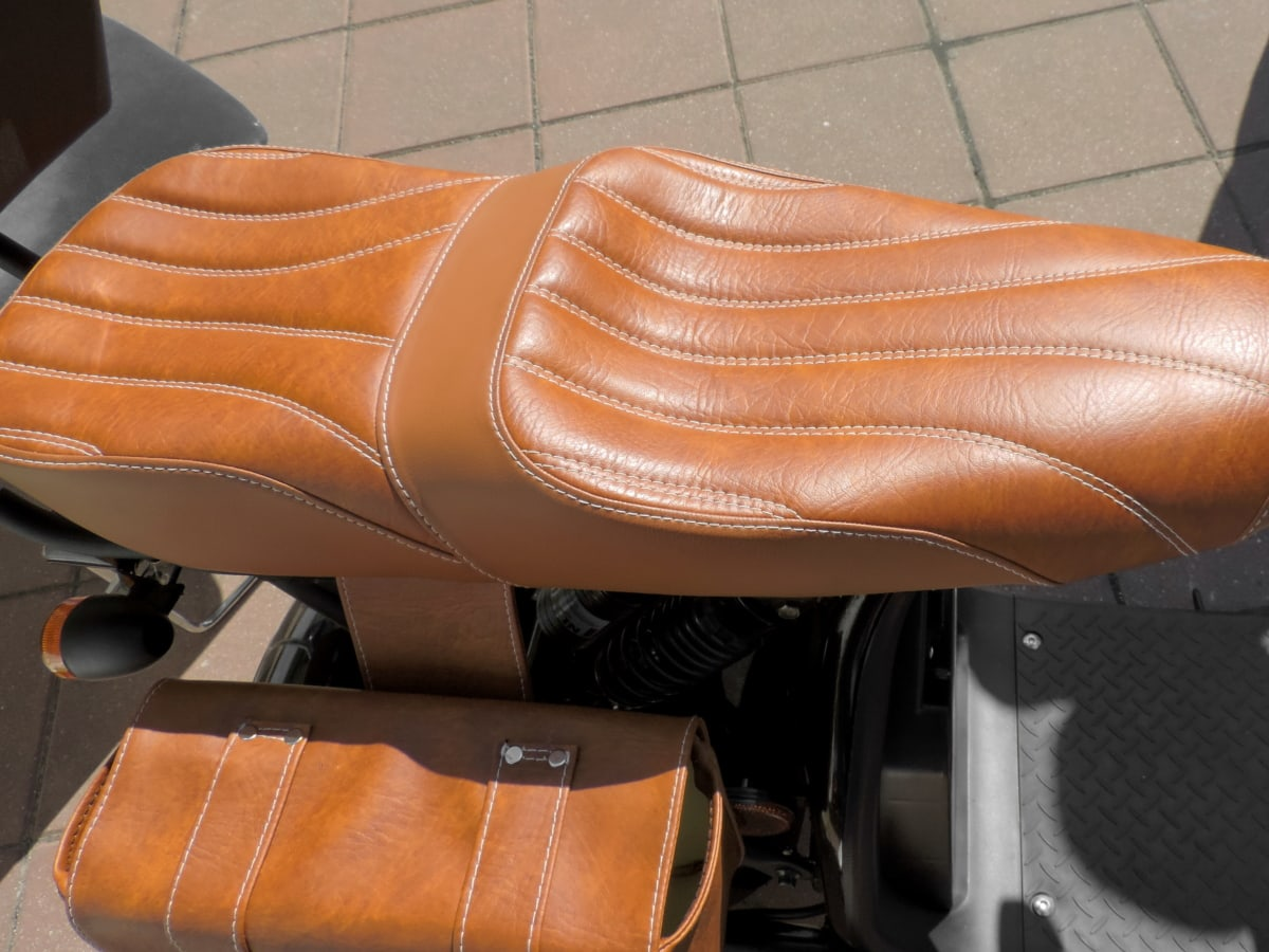 håndlaget, skinn, motorsykkel, sete, kjøretøy, luksus, komfort, klassisk, elegante, enheten