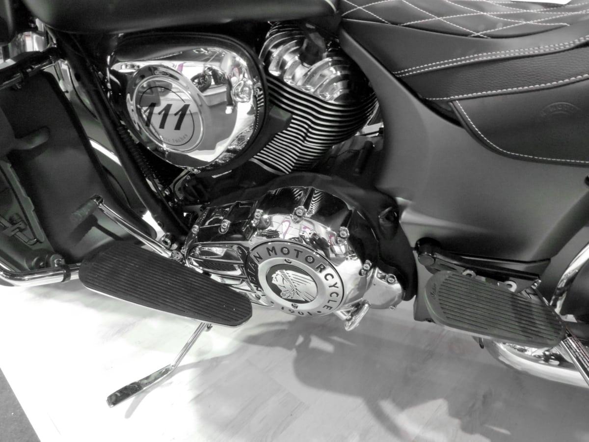хром, двигатель, Монохромный, мотоцикл, сиденья, транспортное средство, Люкс, мотоцикл, Транспорт, двигатель
